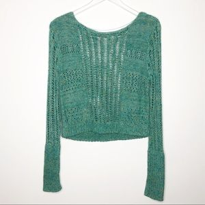 Free People | Green Open Knit Cropped Sweater Sz M
